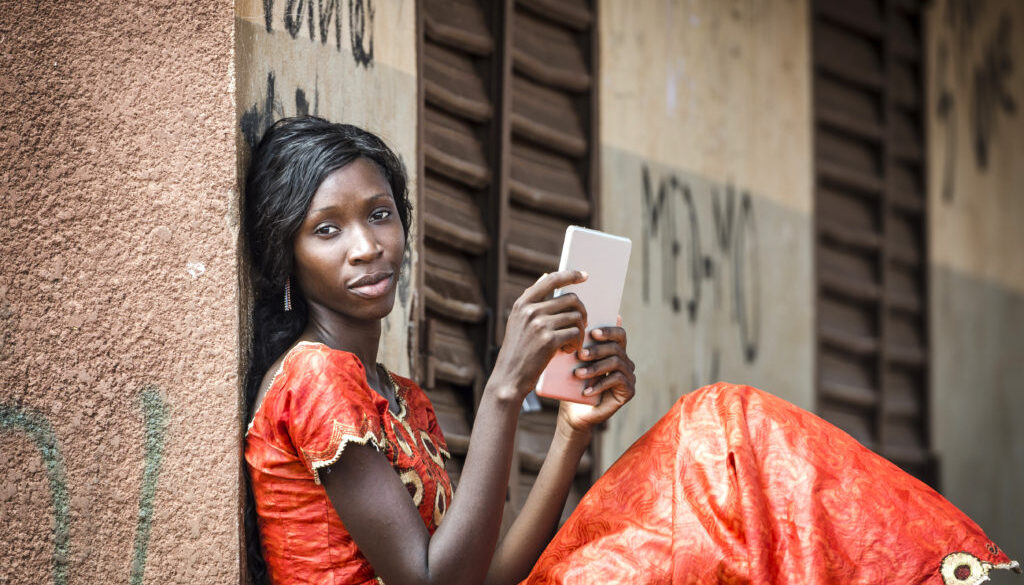 Gorgeous African Black Girl Studying Working With Tablet Computer Technology