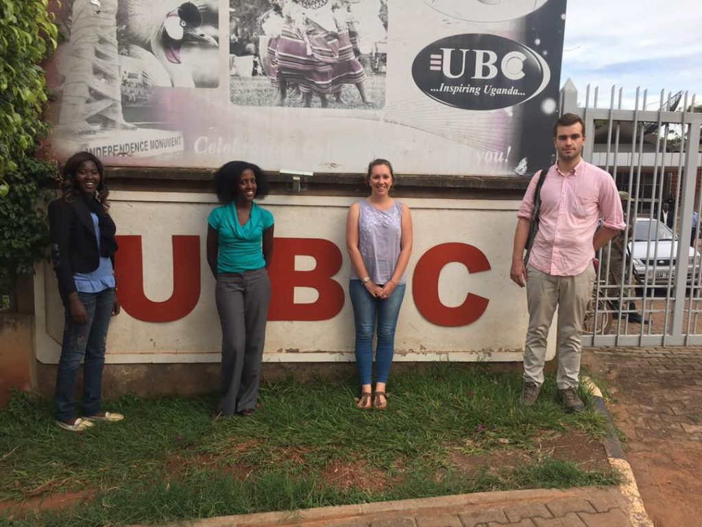 Sharon, Lynna, Nicola and Jacob outside of the UBC studios in Kampala