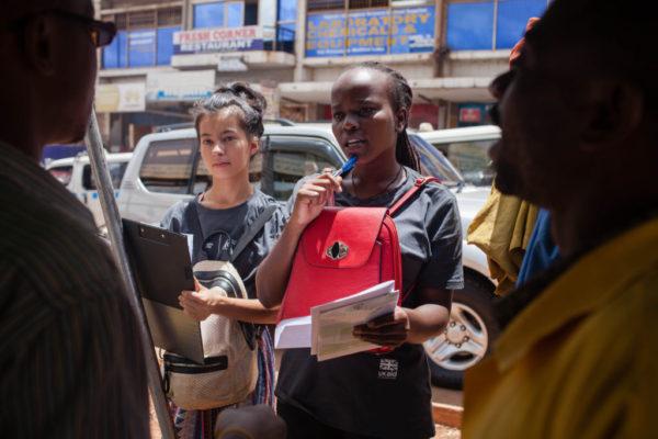 Volunteers conducting market research in Kampala Uganda