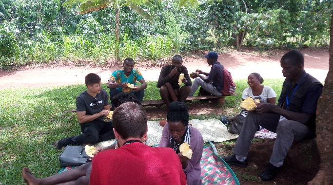 Eating Jack Fruit after working on sustainable forestry projects
